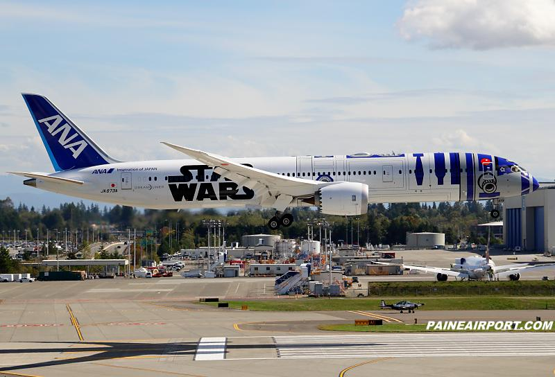 ANA 787-9 JA873A back at Paine Field after a B2 flight http://t.co/0iamxXfrL5