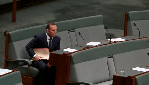 BREAKING: Tony Abbott appears in first #QT as a backbencher, sitting with his friends #Auspol http://t.co/aw0k8faLjL