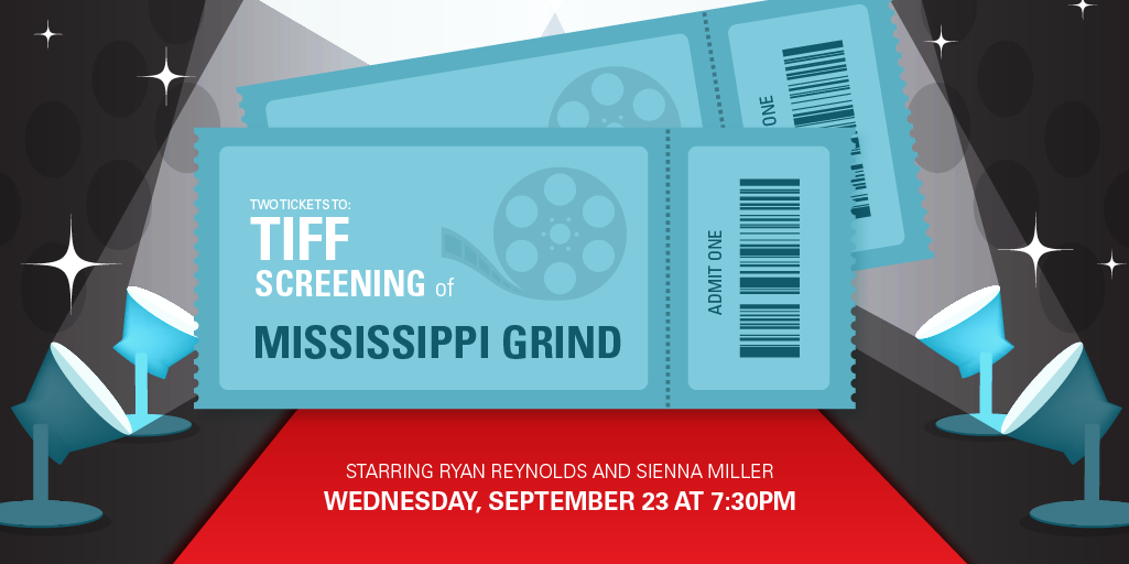 Want two tickets to a TIFF screening of Mississippi Grind? Favourite and retweet this post to be entered to win! http://t.co/dG2gPftQHE