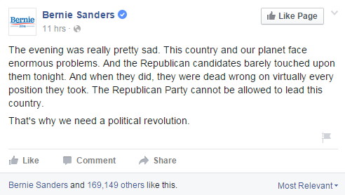The biggest Facebook post about last night's #GOPDebate came from @BernieSanders: