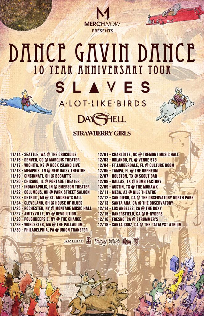 This fall we celebrate the band's 10 Year Anniversary! @SLAVESOFFICIAL @alotlikebirds @DayShell @StrawberryGrls http://t.co/6IErBz06mk
