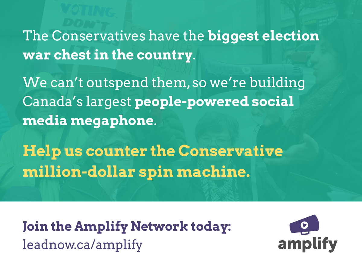 I just joined @leadnowca's Amplify Network to counter the Conservative spin machine. http://t.co/1WFqdUl6tg #elxn42 http://t.co/fYZZu2d2QY
