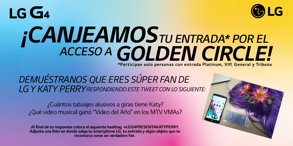 ¿Fan de LG y Katy Perry? Te llevamos a la zona GOLDEN CIRCLE #LGG4presentaKatyPerry Más info: http://t.co/Aps1G8bd8W http://t.co/yoDUhx6pau