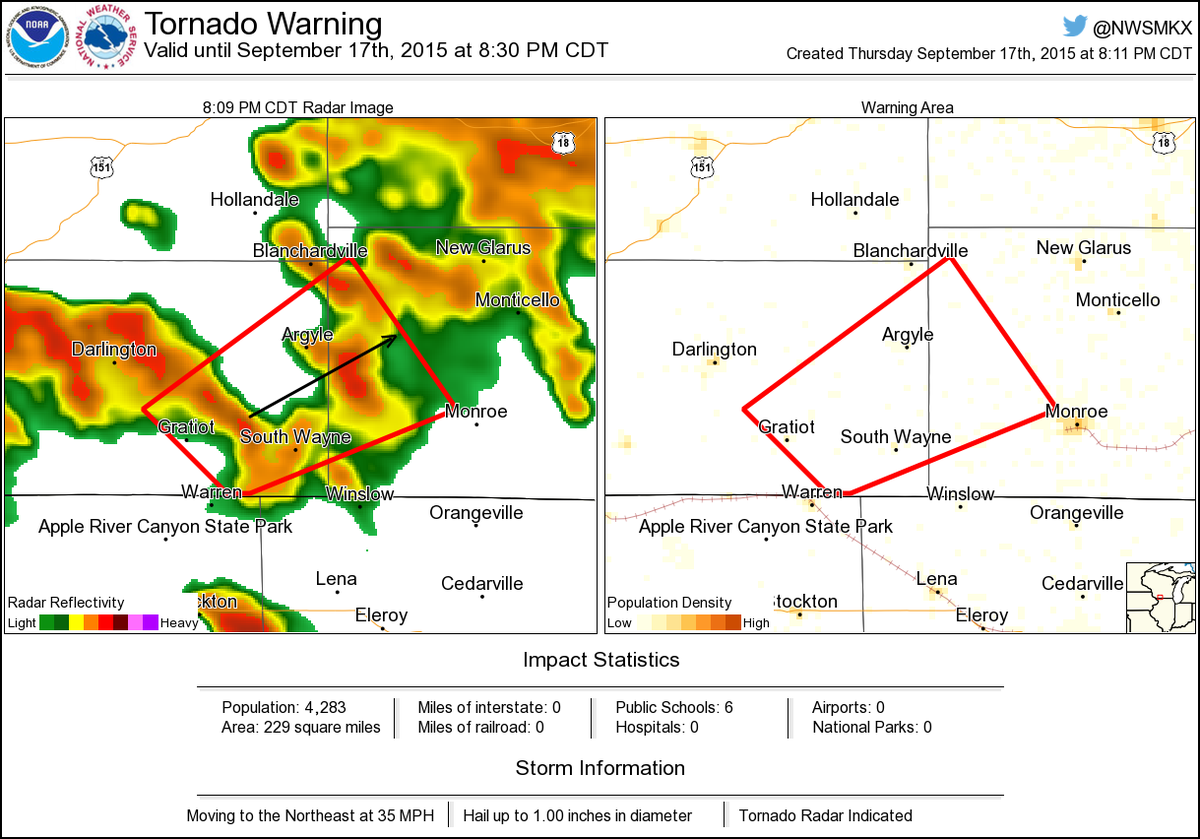 Tornado Warning Including Argyle Wi South Wayne Wi Browntown Wi