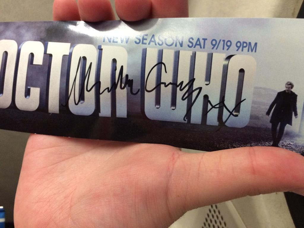 . @BBCAMERICA @bbcdoctorwho @DoctorWho_BBCA HUGE thanks to Michelle Gomez for signing my Doctor Who sticker.