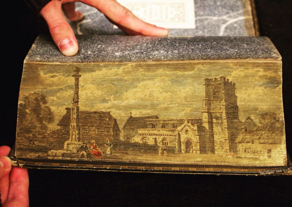 Fore-edge painting on 1791 Bible features a nice English hamlet. #foreedgefriday http://t.co/xhnGGGnNBS