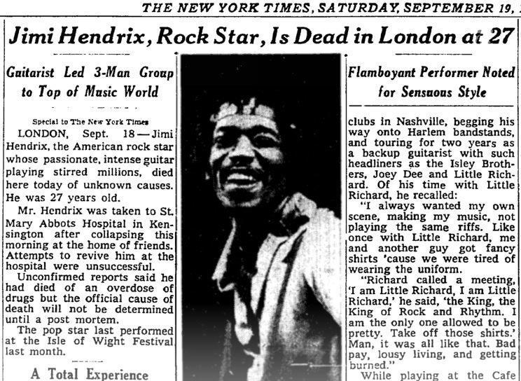 Psychedelic rock superstar Jimi Hendrix died on Sept. 18, 1970. http://t.co/u5VXbztLVP http://t.co/sMzahLY35x