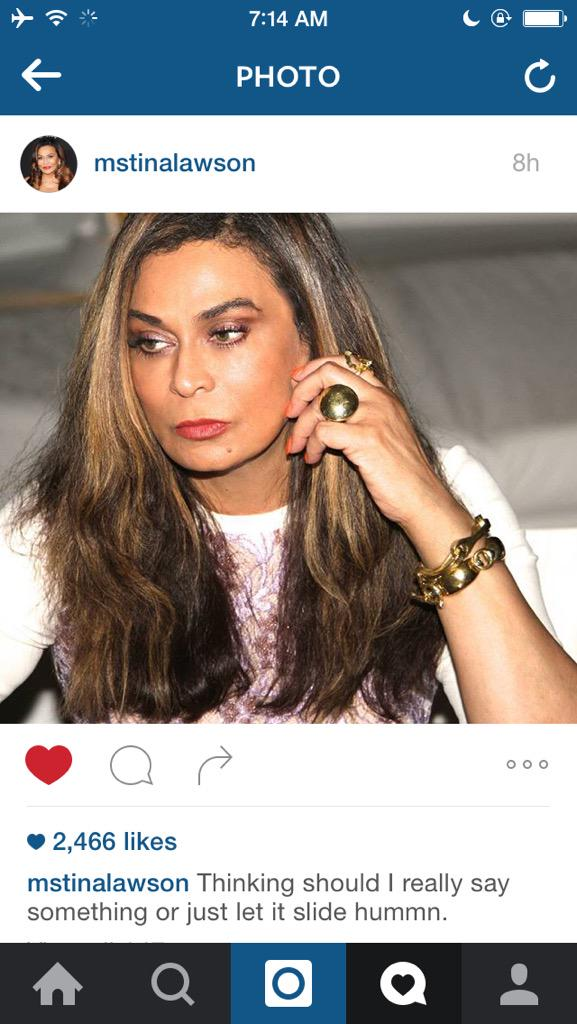 Really crying RT @_heathenn: we gotta get miss Tina off the gram