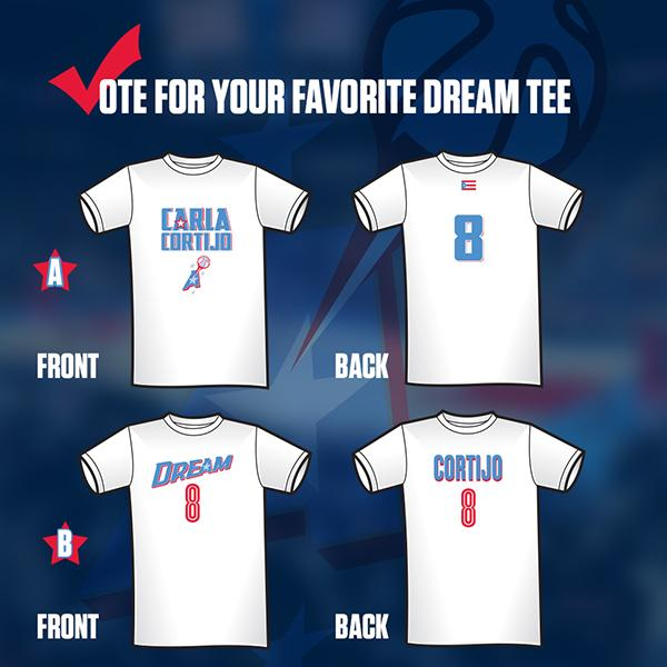 Dream Fans, you get to vote on the Carla Cortijo (@8Cortijo) shirt to be made! RT for shirt A. Favorite for shirt B! http://t.co/lpsNaDBlUI