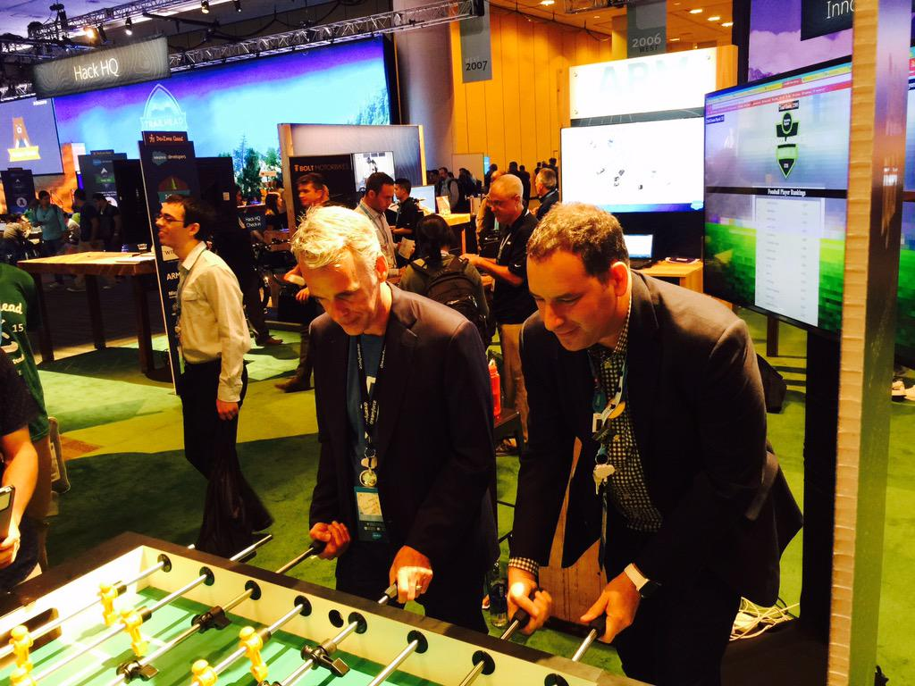 .@parkerharris & @adamse on @deloittedigital's connected foosball table. #DF15 #DevZone #IoTcabin http://t.co/utna9QJxuQ