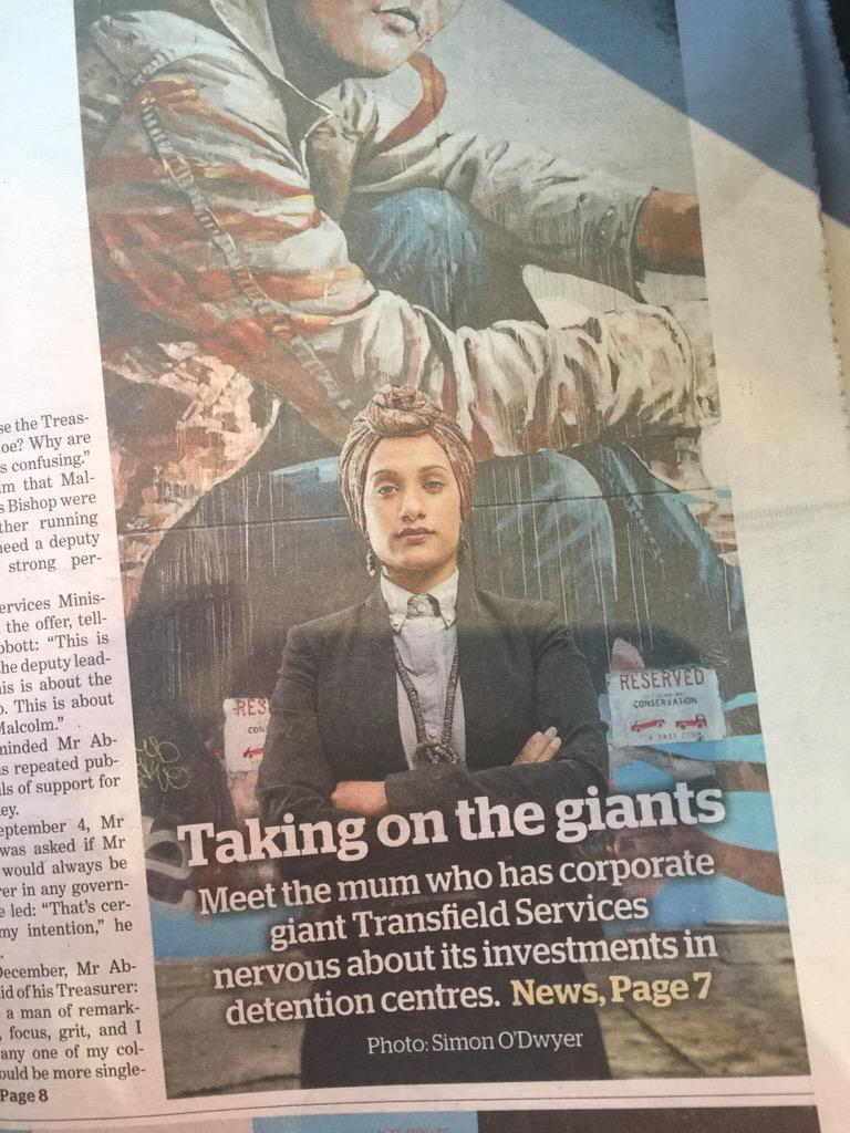 Front page: 'Meet the mum' taking on #transfield, immigration detention centres? I think you mean human rights lawyer http://t.co/jkg76pWkAi