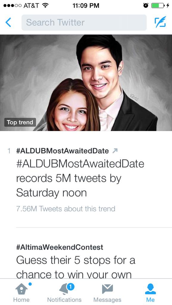 This is insane! Super trending top tweet! Lol #ALDUBMostAwaitedDate http://t.co/8MS25Dop6i