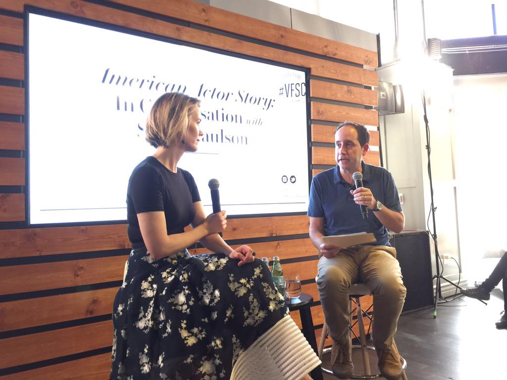 Listening to @MsSarahPaulson at @VFagenda's #VFSC. #AmericanHorrorStory #Emmys http://t.co/dwaNiucsT7