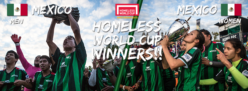Congratulations, double #HomelessWorldCup 2015 winners - Team Mexico! @StreetSoccerMX http://t.co/fnuGVtNw3x
