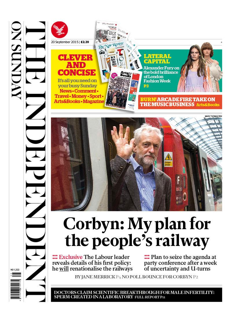 First look at the front page: Jeremy Corbyn exclusively details his first big policy, to create a 'people's railway' http://t.co/WF83g1b9Lq