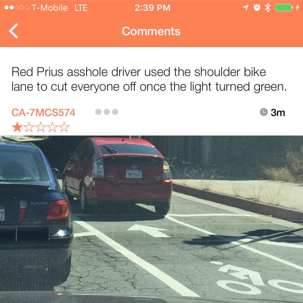 Another inconsiderate driver #reported and #rated on #Blinkrapp. #startup #TechCrunch #Mashable #baddriver #roadrage http://t.co/nWEWHlmJ0I