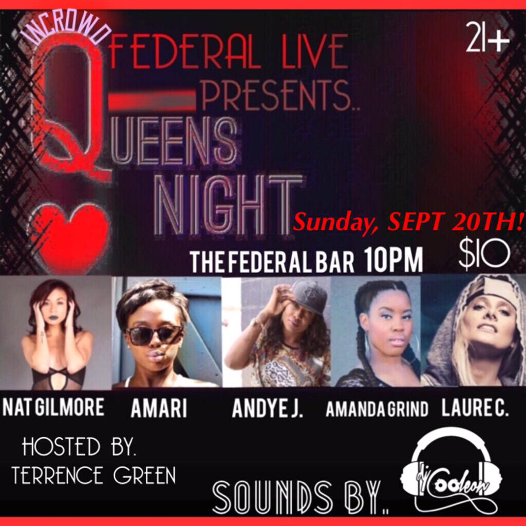 TOMORROW NIGHT!!! #QUEENSNIGHT #INCROWD #FEDERALLIVE 21+ 10PM ONLY $10 http://t.co/qySwLQLIov
