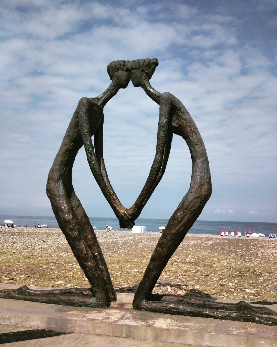 A couple in love. Too much passion for their iron hearts :)   #Georgia #travel #travelgeorgia #Batumi #love #beach http://t.co/CEqGqDEP1C