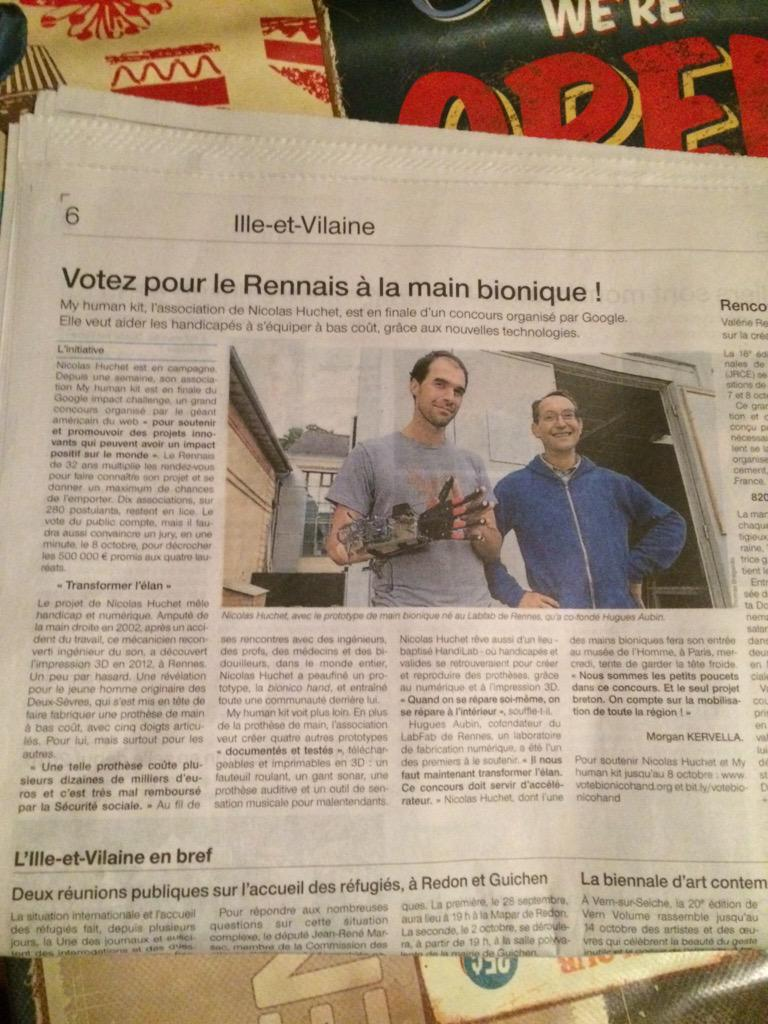 Merci @OuestFrance ! Chaque vote compte : http://t.co/Y0TtfelPge #labfab #googleimpactchallenge #rennes http://t.co/pLZxpzyAEm
