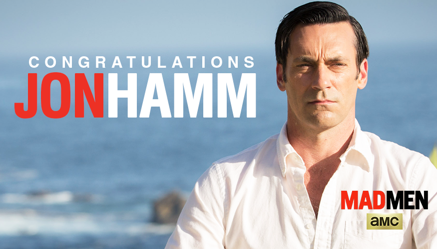 Congratulations to #MadMen's Jon Hamm for his Outstanding Lead Actor in a Drama Series Emmy win! http://t.co/aNoYAdtaIz
