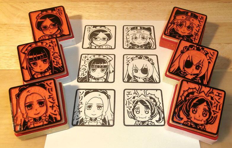 か…かわええ! RT @horimatsutaka: ゴム印でプレアデスたちを彫ってみた! ゴム印むずいけどなんとかなるもんですな #overlord_anime #オーバーロード http://t.co/XqbNZDzq5u