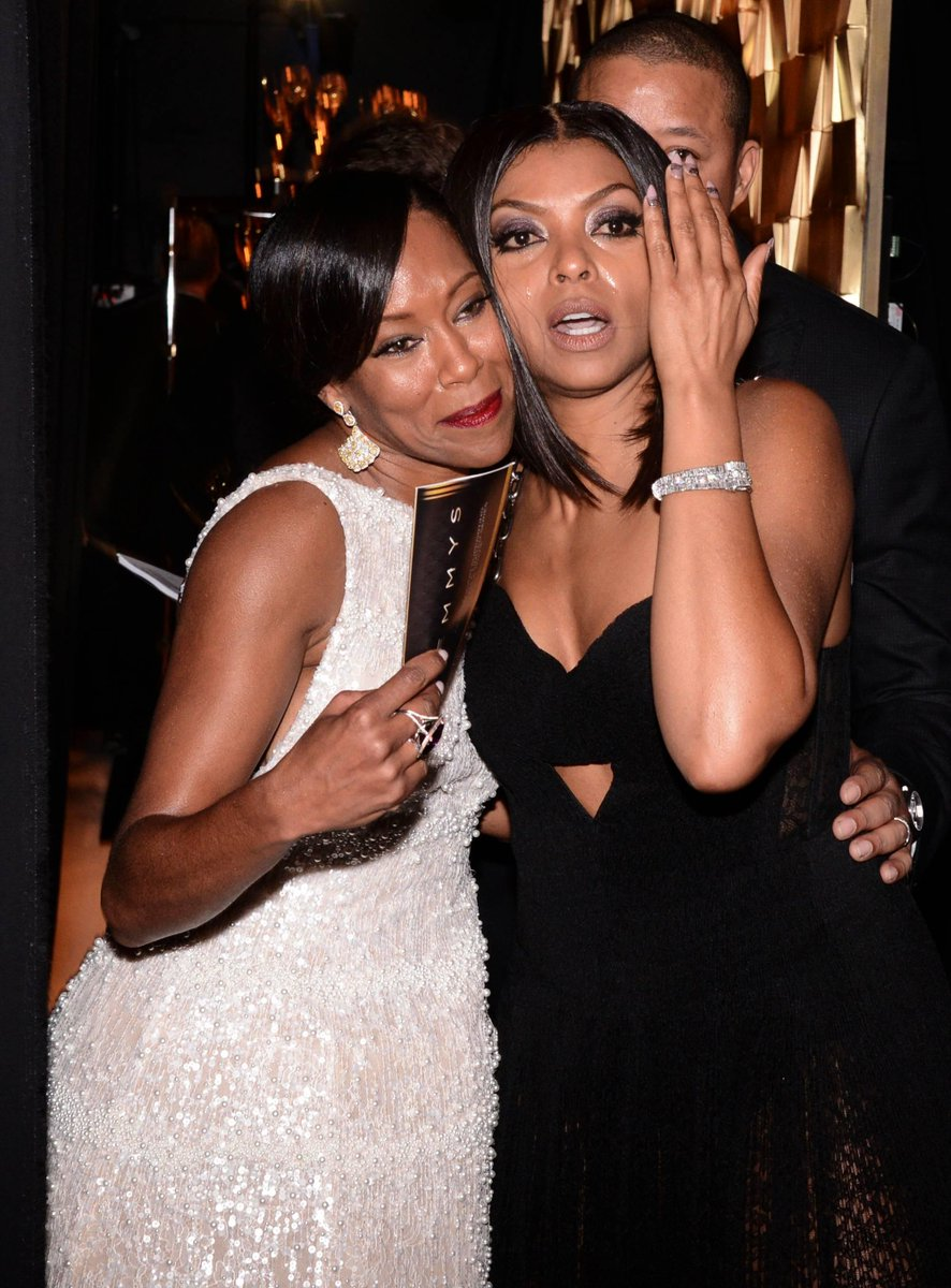 Taraji crying over Regina's win. Even Terrence looks emotional. #Emmys2015 #blackexcellence http://t.co/8Pu6KsQZXn