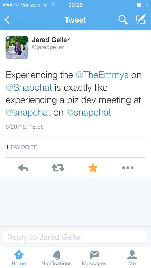 .@jaredgeller said something about @TheEmmys and @Snapchat, but then he deleted it. ???????????? http://t.co/hY91oxEmky