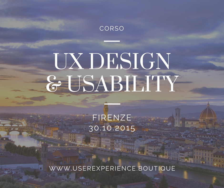 Corso UX Design & Usability @ FI 30/10/15: ✔ Siti Responsive ✔ Ecommerce ✔ App & Apple Watch http://t.co/MILhH7eb4I http://t.co/vctAdYIFXT