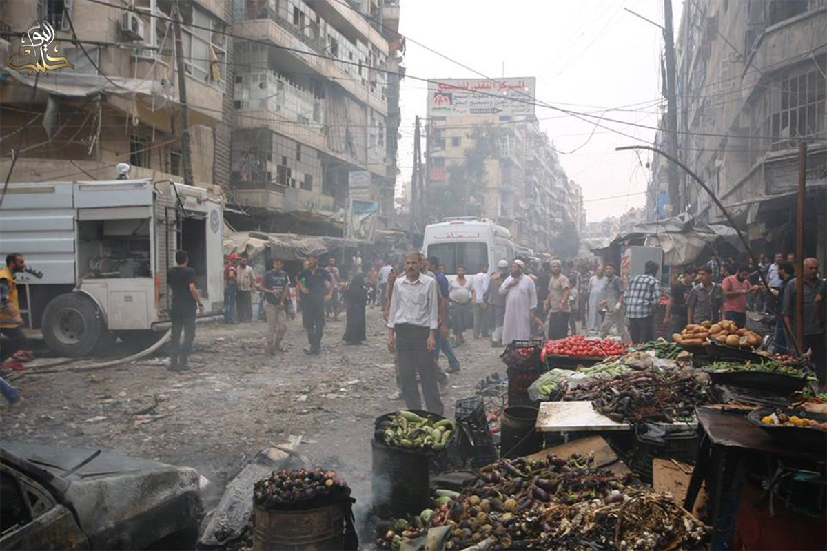 Again & again markets r the main target of #Assad force, 15 grocery shoppers r killed. #Aleppo #Syria Damn #Russia! http://t.co/pce7HB17K0