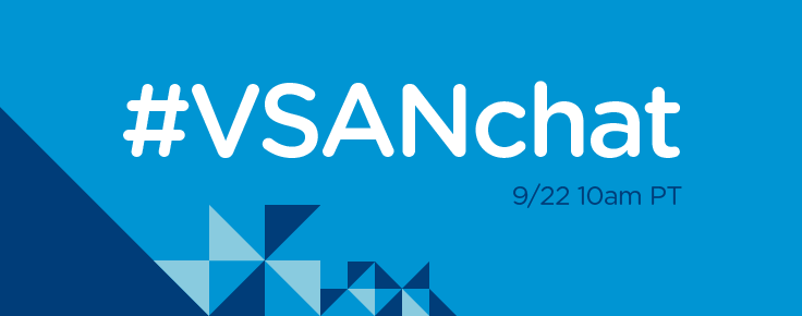 #VSANchat tomorrow 9/22 @ 10am PDT https://t.co/juKaKAxdWe - w/@MichaelJHaag @vmKen @vmw_pooja @CormacJHogan & me. http://t.co/NJEmcYC6BV