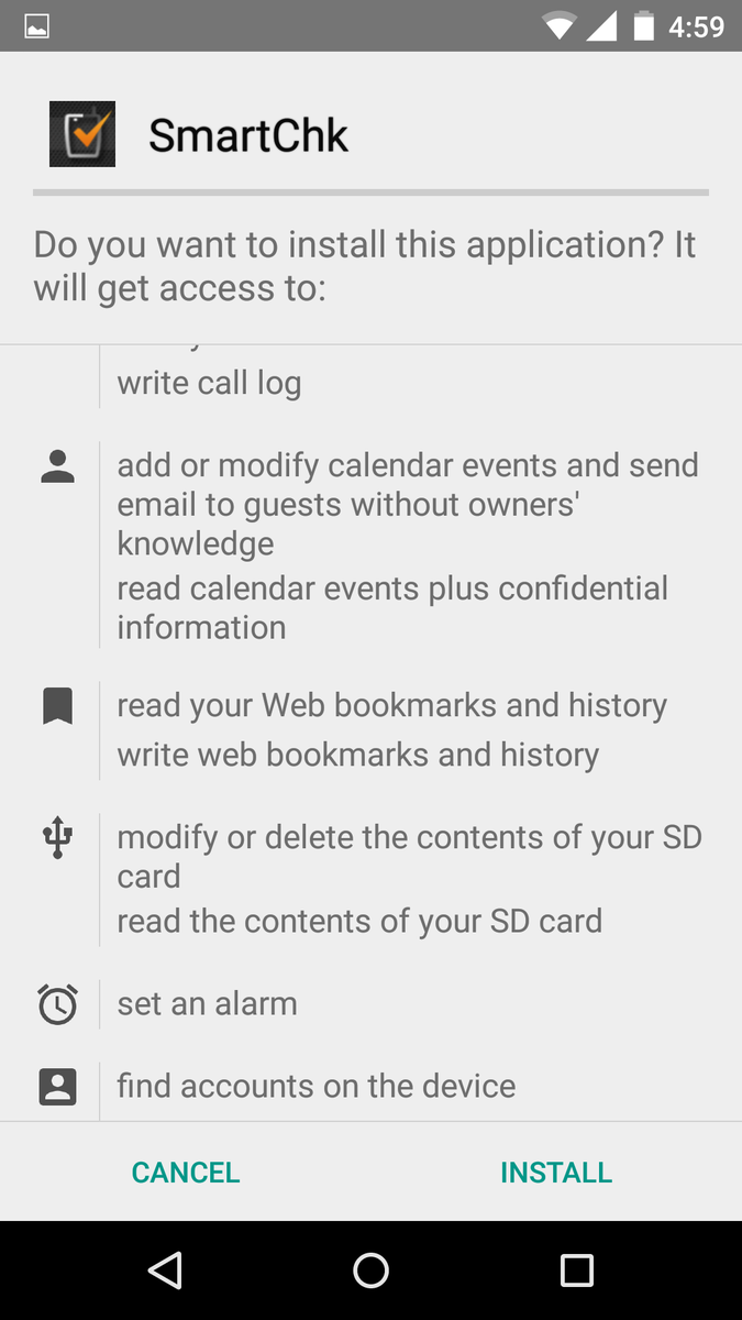 @flipkartsupport these permissions arent reasonable , your smartcheck app asks for this http://t.co/X1jl0Jbo4p