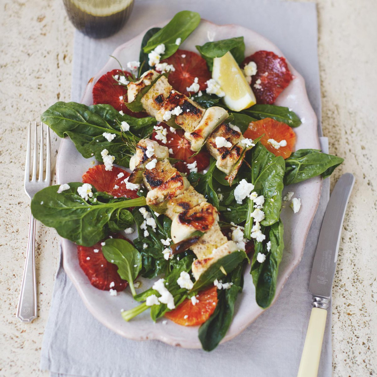 Herb marinated chicken kebabs on a salad of sweet orange slices & feta http://t.co/hy5BsP1OPx #JamiesSuperFood http://t.co/JXieFJ7vcO