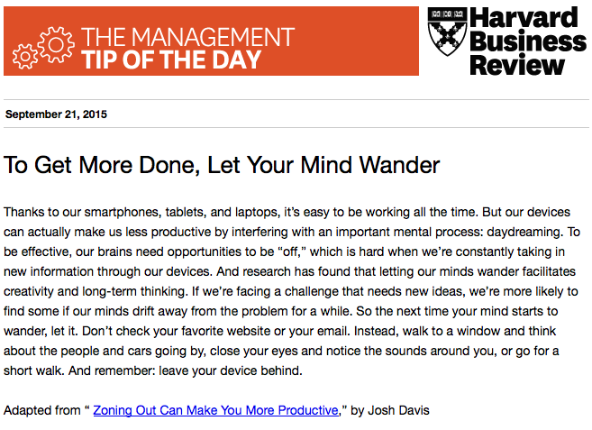 Our management tip of the day: Zoning out can actually make you more productive http://t.co/8XHQ9wQBsR