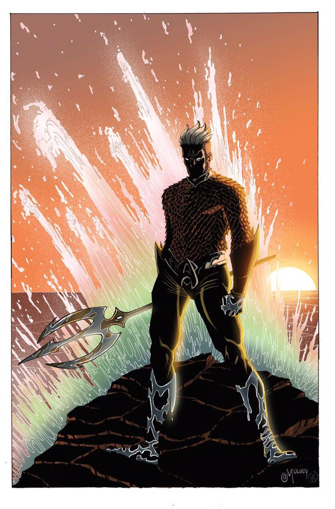 AQUAMAN Colors by the amazing @julesrivera  , lines by me. Love drawing Aquaman and seeing Jules bring it to life. http://t.co/H8Xp7MTqT0