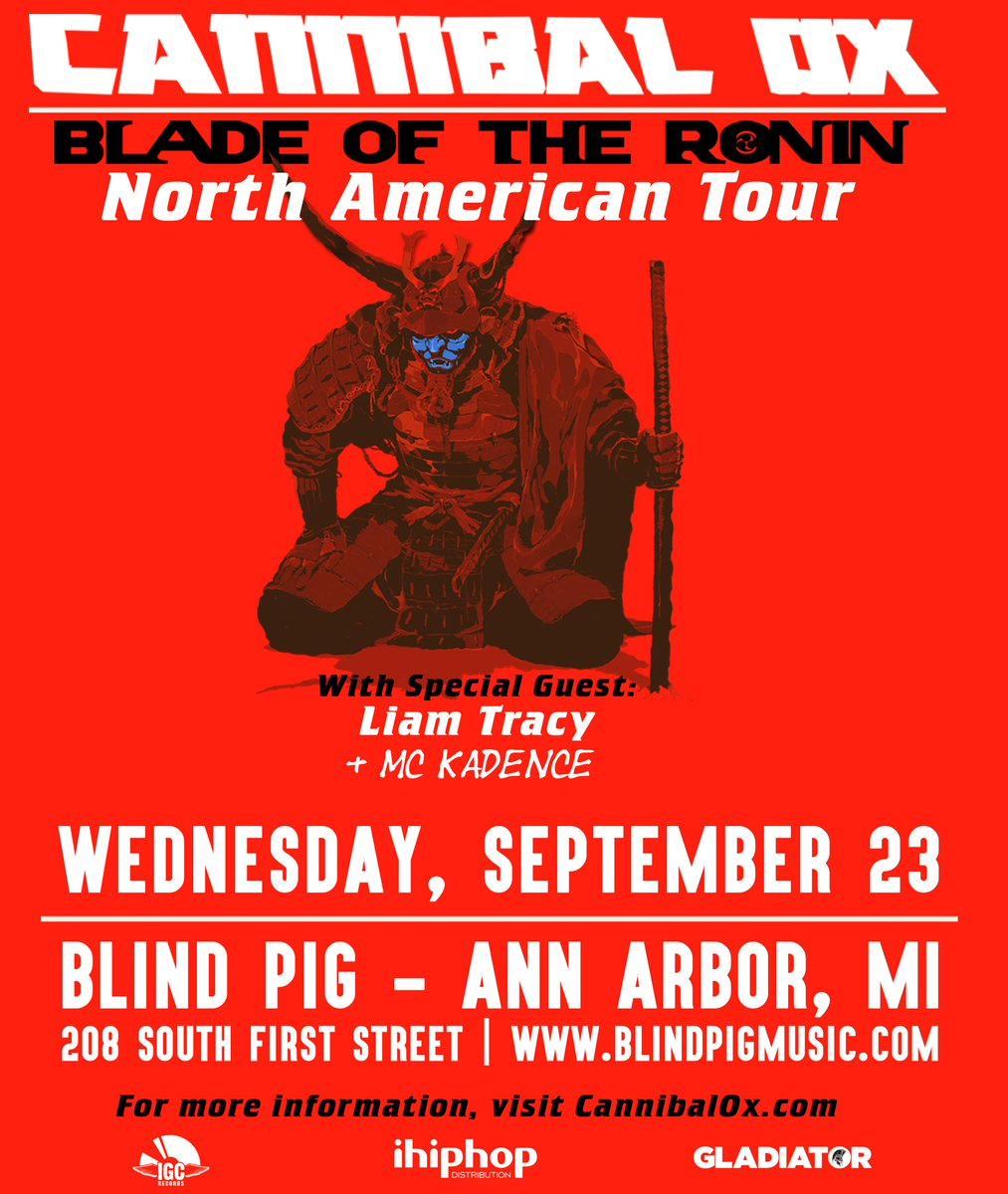 Getting hype for tomorrow night: @CannibalOx with @LiamTracyMusic & Ann Arbor's Kadence! http://t.co/0jsLajycRJ http://t.co/4Ecp3M7OIz