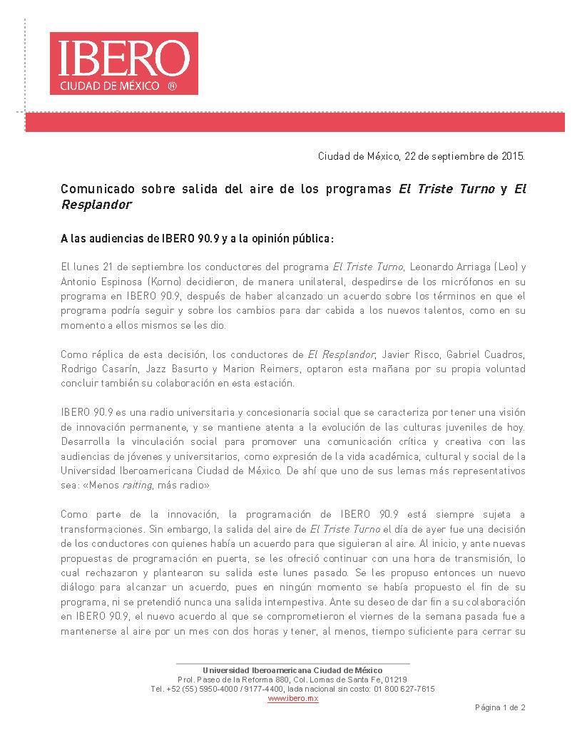 Comunicado sobre la salida del aire de los programas #TristeTurno y @Resplandor909 http://t.co/wQcs5zKFNg
