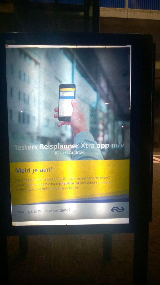 Oproep aan gebruikers van Windows devices: mail mlab@ns.nl om te zeggen dat je de Windows app wilt testen. http://t.co/pM8slg2PrY