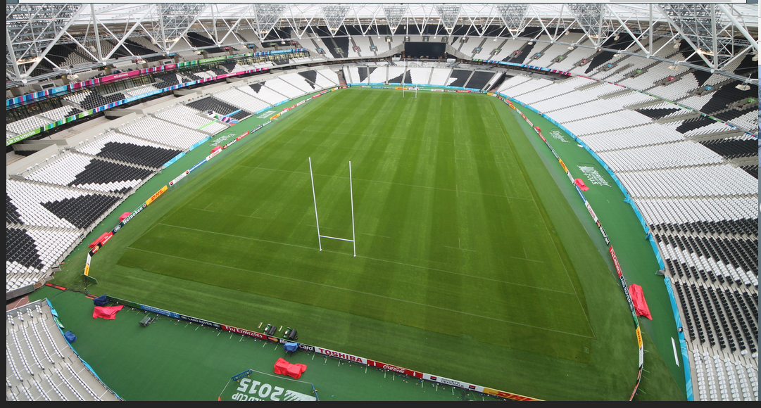 Another view of the Olympic Stadium ahead of the Rugby match tonight. No sign of the running track #WHUFC #RWC2015 http://t.co/cg57YN917a