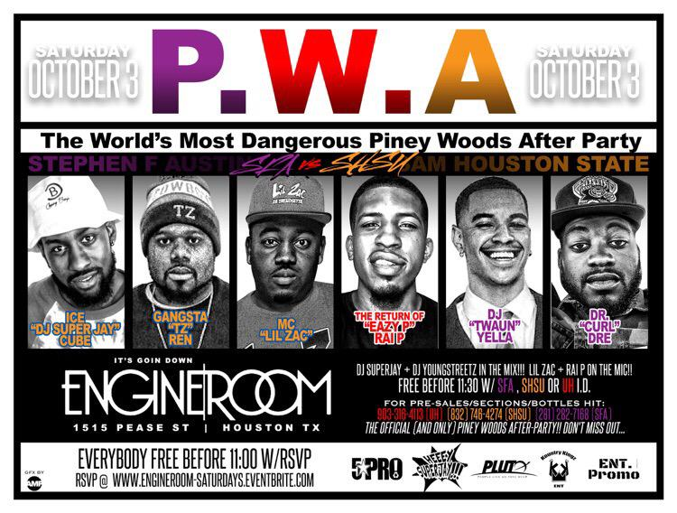 #PWA: Piney Woods AfterParty | #EngineRoom | October 3rd | #3Peat | RSVP at http://t.co/eaB65SMFZa | http://t.co/w2KDHM3VGt
