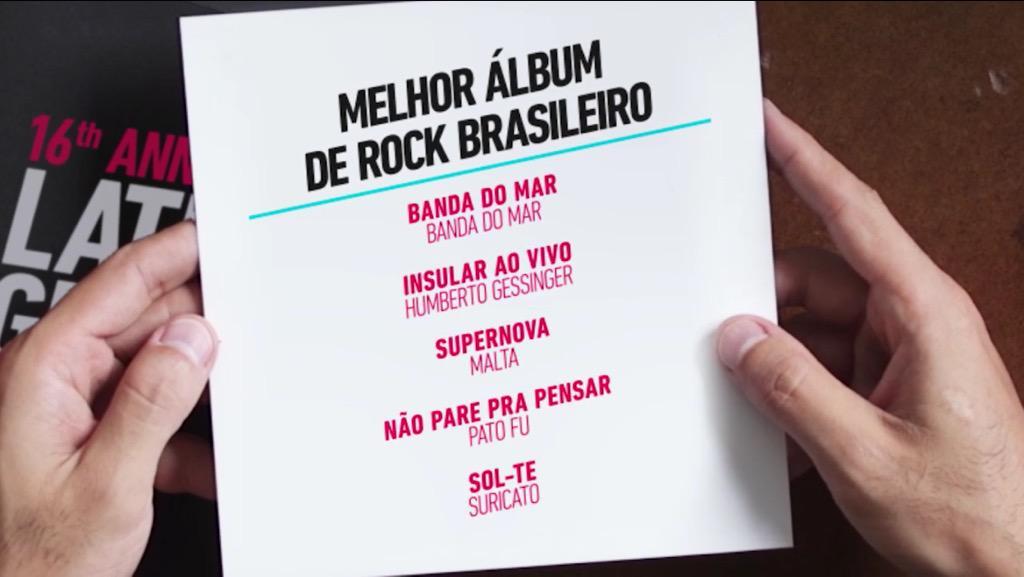 """#NãoParePraPensar indicado ao @LatinGRAMMYs, na categoria """"Melhor Álbum de Rock Brasileiro"""""""
