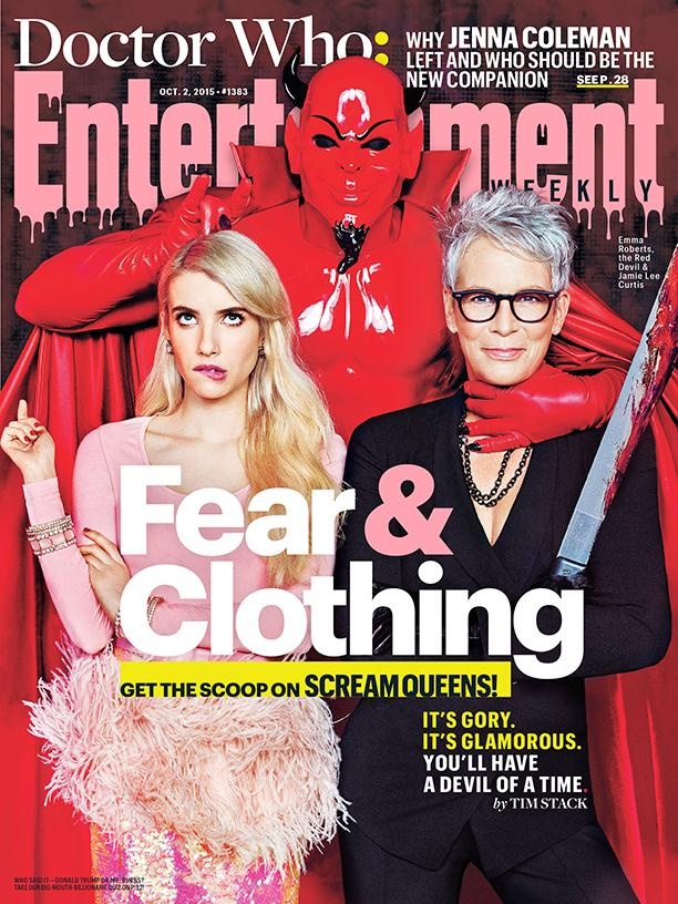 This Week's Cover: Fear & Clothing on set of @ScreamQueens w @RobertsEmma & @jamieleecurtis http://t.co/BwjqDIWJfr http://t.co/WqrqEBoffY