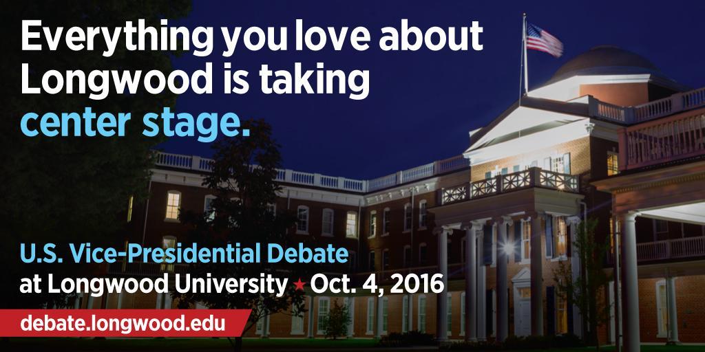 HUGE NEWS! Longwood selected to host 2016 U.S. vice-presidential debate! http://t.co/BbfLMvvsi1 #LongwoodDebate http://t.co/HgFWjsF9vD