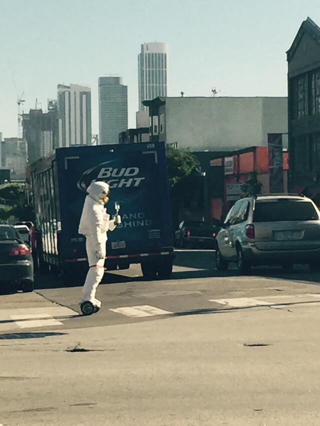 Almost forgot to give a shoutout to the day-drinking hoverboarding astronaut tootling down 8th this morning: http://t.co/xbOgjYKl0G