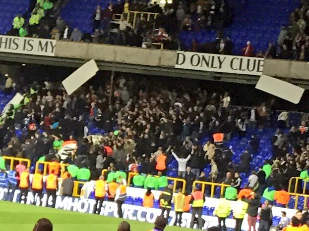 Arsenal fans ripping up signs at spurs http://t.co/wVFNtnenTK