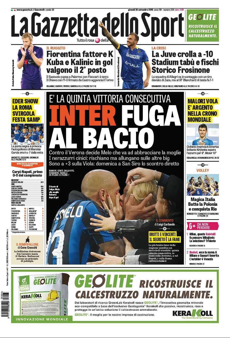 La #primapagina di oggi: Inter, fuga al bacio, crollo Juve, Fiorentina seconda #Ciclismo Malori volo d'argento http://t.co/ljX6iEzAl7