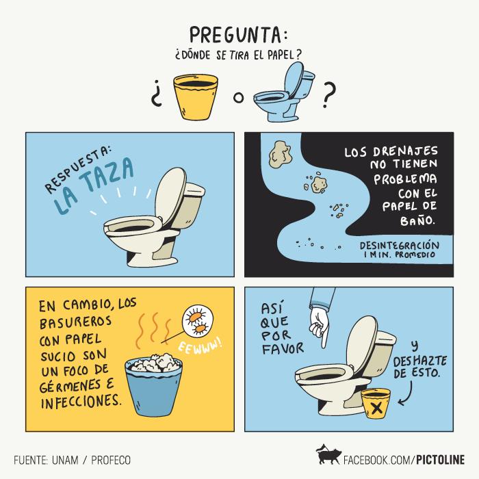 El papel va en el WC, no en el bote. No promueva el fecalismo. No sea marrano. Imagen por @pictoline :) http://t.co/JB9Sqnbhr7