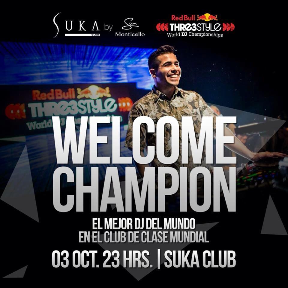Nos vemos el 3 de octubre en la llegada del Campeón Mundial @ByteMusic!!!  #JustSuka http://t.co/VafiHNqdyh