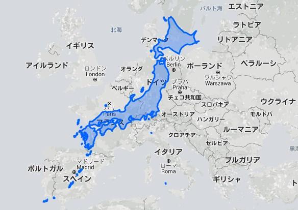 使い慣れてる世界地図だと、北に行くほど面積が大きいように見えてしまうから、ヨーロッパ各国と同じくらいの緯度に調整して重ねてみた。日本はデカい。 http://t.co/9w3ryJmBOC