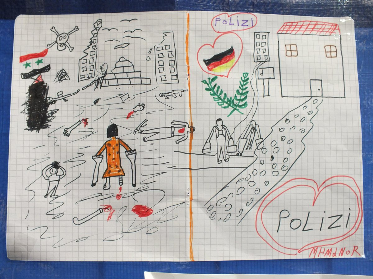 A Syrian refugee child made this drawing and gave it to German police officers http://t.co/aHwpJ92u9q via @bpol_by