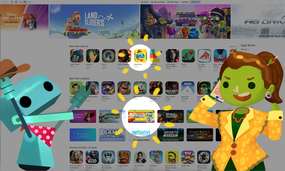"""Our new game, #GastroBots, has been featured under """"Best New Games"""" in the App Store! COME N' GET IT!"""